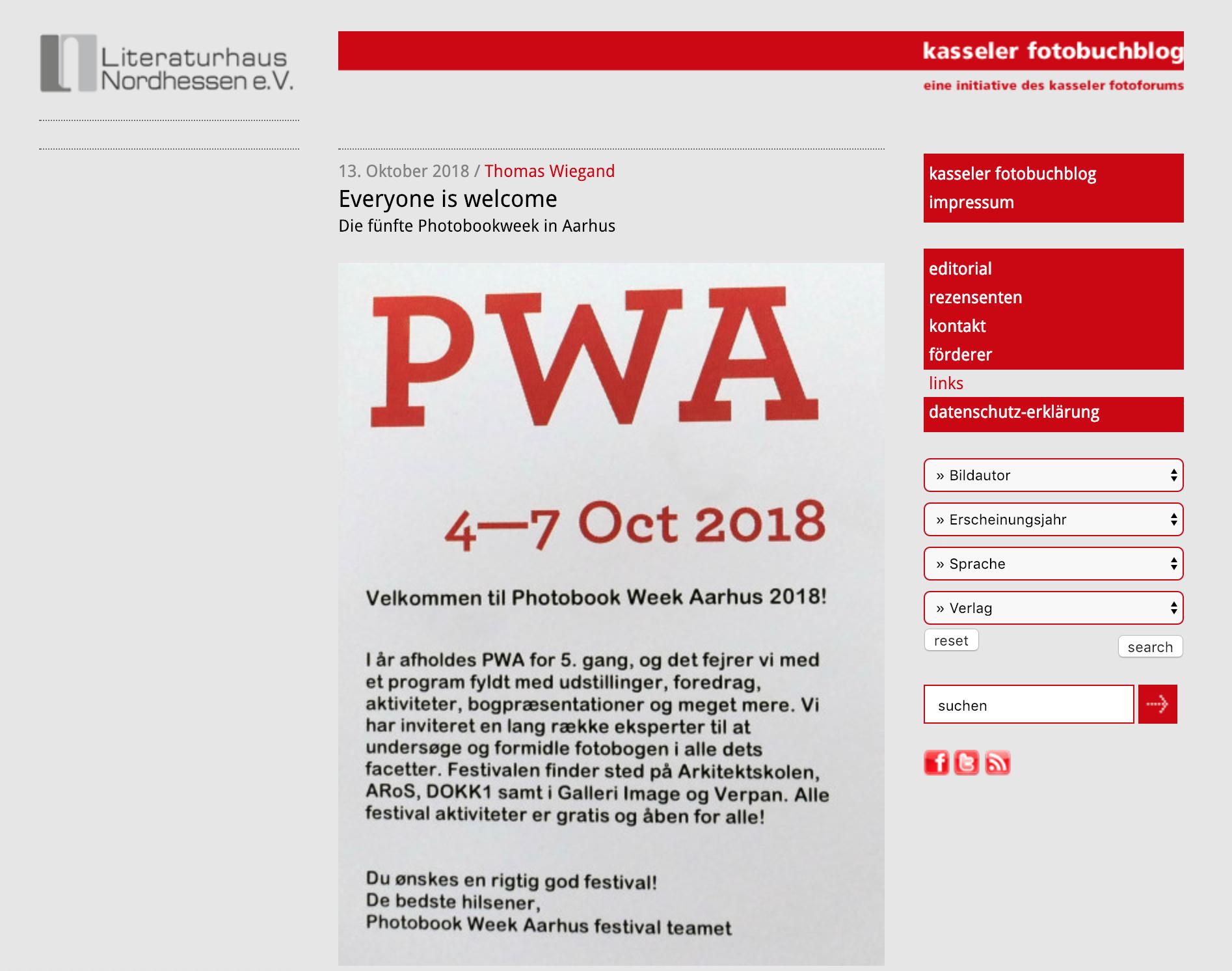 Read Thomas Wiegand post on Photobook Week Aarhus 2018